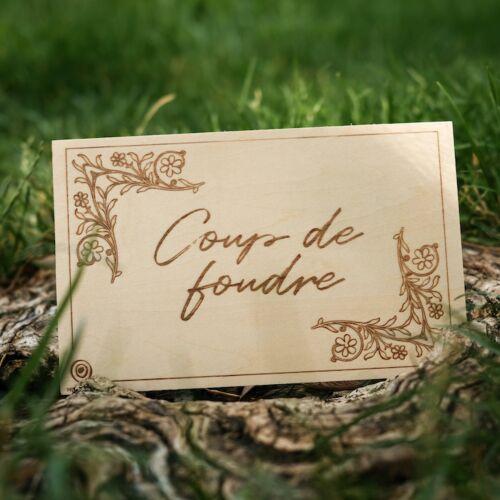 Carte de Vœux en Bois: Coup de Foudre