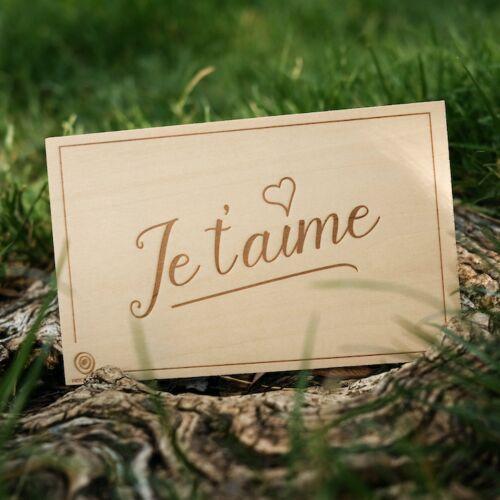 Carte de Vœux en Bois: Je t'aime