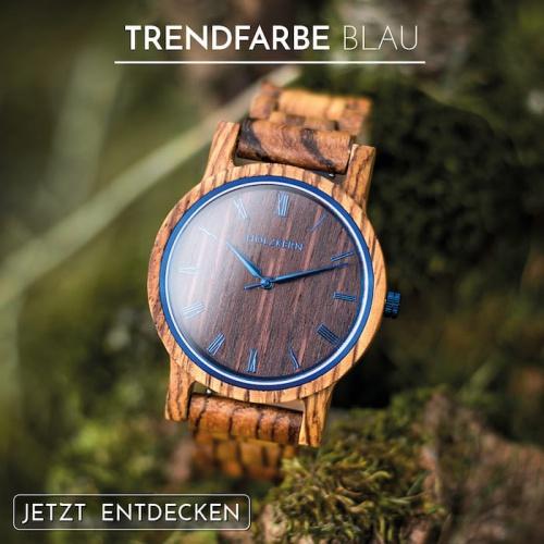 Holz trifft die Trendfarbe Blau