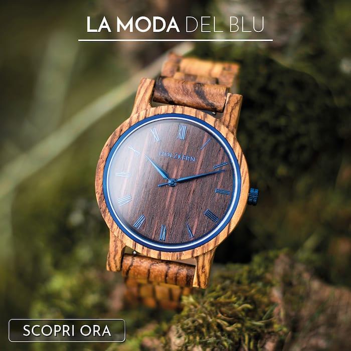 Il legno incontra le tonalità del blu