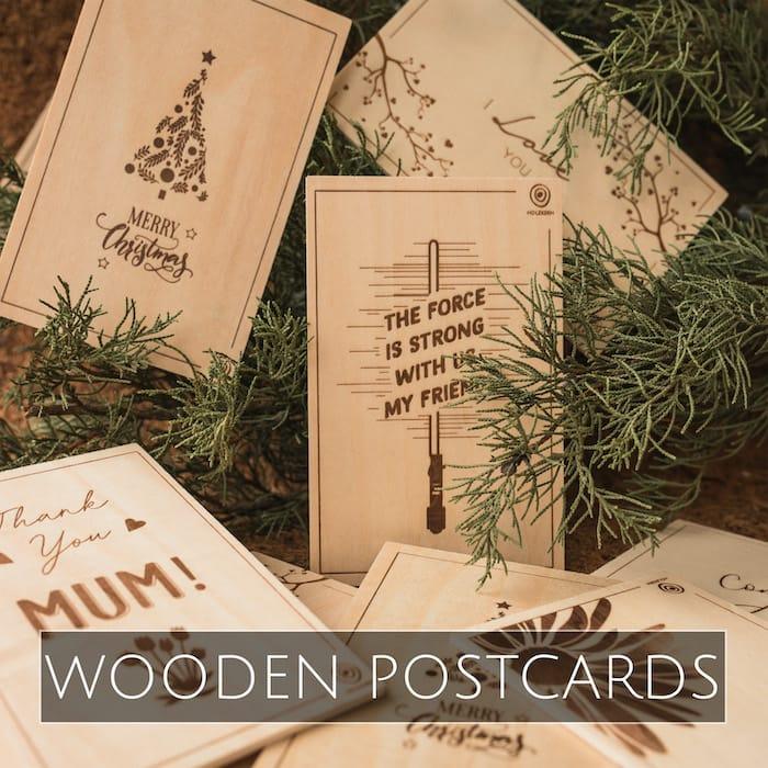 Holzkern wooden postcards